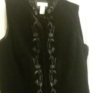 Ann Taylor Black velvet pants and top.